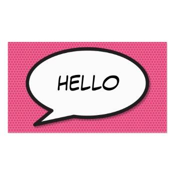 Small Comic Book Pop Art Hello Business Card Front View