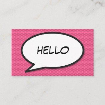 comic book pop art hello pink business card