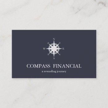 compass navy blue nautical financial advisor business card