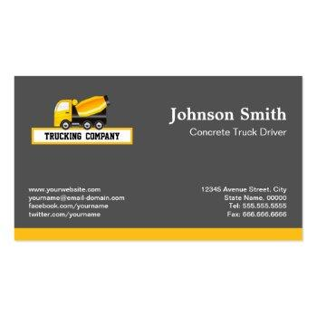 Small Concrete And Cement Mixer Truck - Construction Business Card Back View