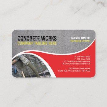 concrete works, construction company business card