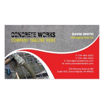Small Concrete Works, Construction Company Business Card Front View