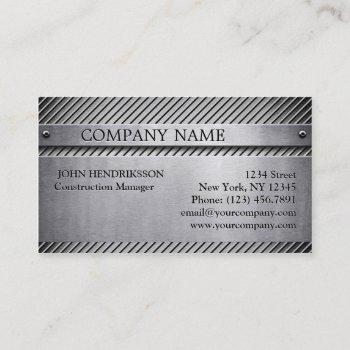 construction aluminum brushed metal business card