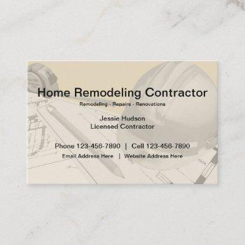 construction and remodeling contractor business card