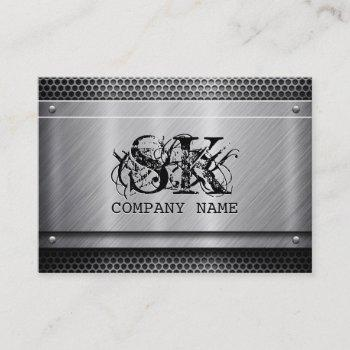 construction brushed metal business cards template