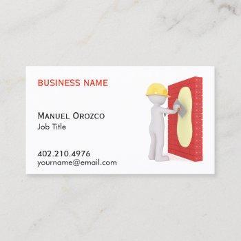 construction drywall installer cartoon business card