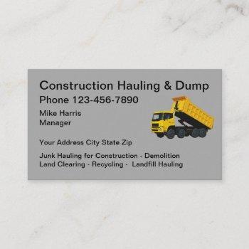 construction hauling dump truck business card