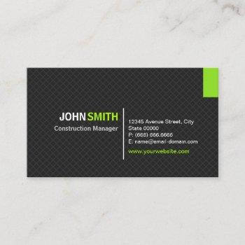 construction manager - modern twill grid business card