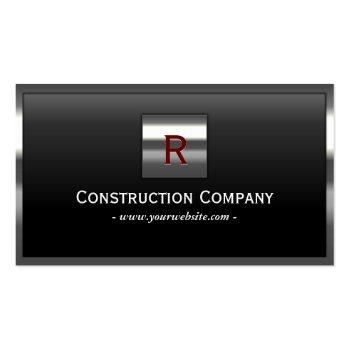 Small Construction Metal Framed Monogram Professional Business Card Front View