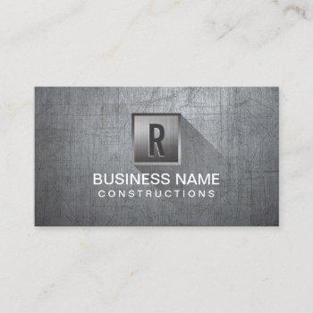 construction metal monogram professional modern business card
