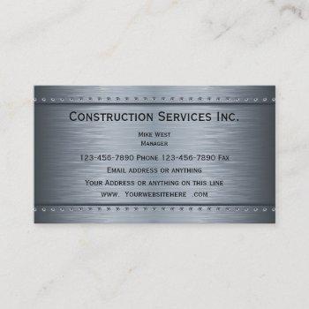 construction metallic look business card