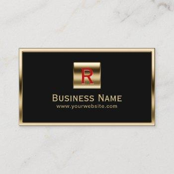 construction monogram gold framed professional business card