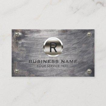 construction monogram steel logo grunge metal business card