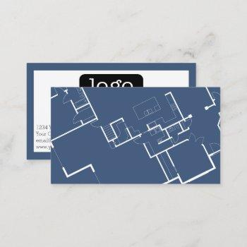 construction or architect - blueprint and logo business card