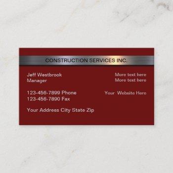 construction services metallic banner modern business card