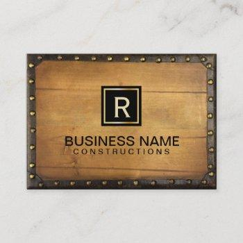 construction vintage leather wood monogram business card