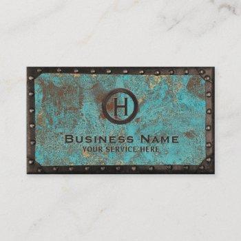 construction vintage monogram turquoise copper business card