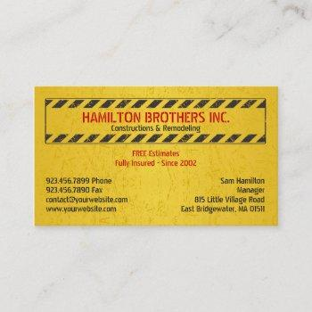 constructions business card