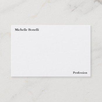 contemporary plain simple white minimalist modern business card