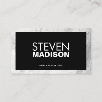 contemporary | white marble trim business card