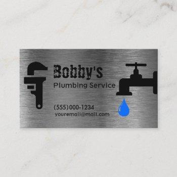 contractor plumbing service chrome design business card