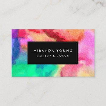 cool abstract multi-color watercolors iii modern business card
