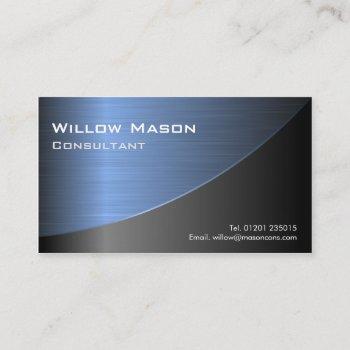 cool black brushed blue steel effect- bus card
