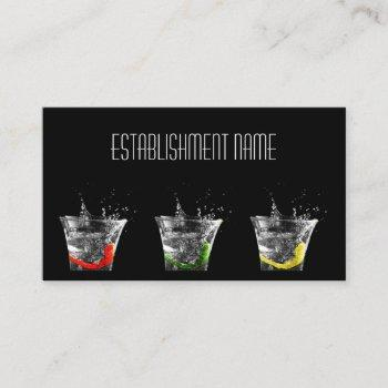 cool black contemporary cocktail bar business card