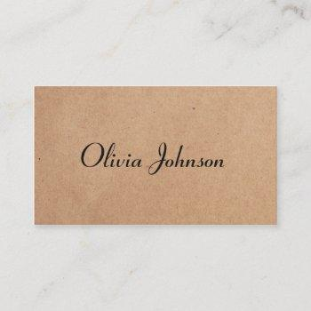 cool elegant kraft paper handwriting consultant business card
