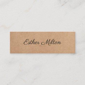 cool elegant kraft paper handwriting consultant mini business card