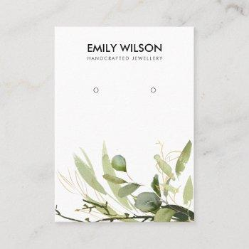 cool green gold foliage grove earring display business card