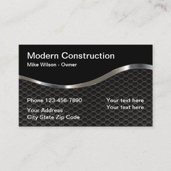 cool metallic look construction business card