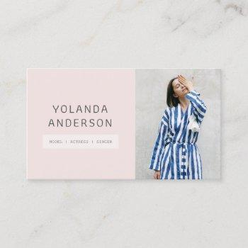 cool modern pink fashion stylist actor model photo business card