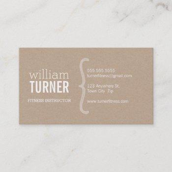 cool modern simple text minimal trendy eco kraft business card
