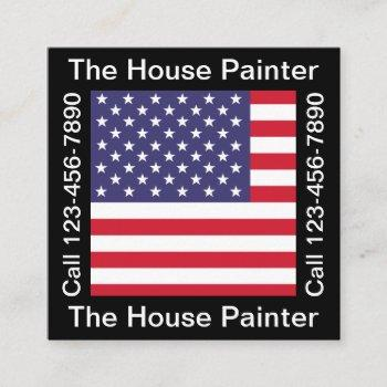 cool patriotic american house painting square business card