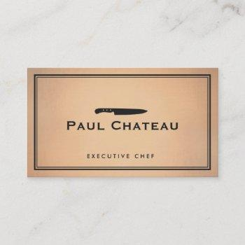 cool personal chef knife logo copper background business card