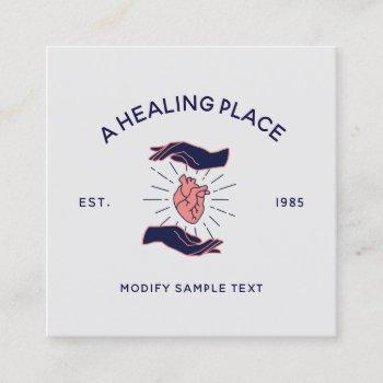 cool retro hands holding human heart square business card
