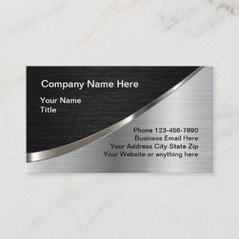 cool silver metallic look construction business card