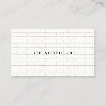 cool subway tile pattern white business card