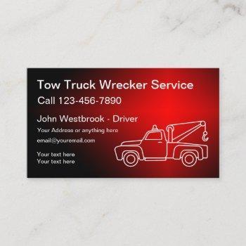 cool tow truck wrecker driver business card
