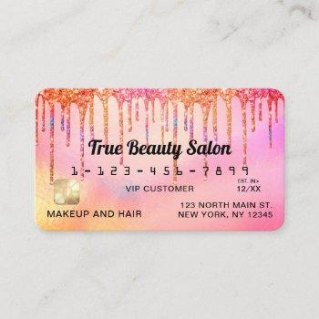 cool unicorn pink holographic glitter drips credit business card