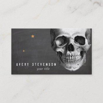 cool vintage skull etching black business card