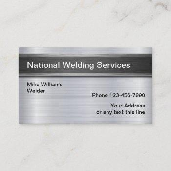 cool welding services metallic look business card