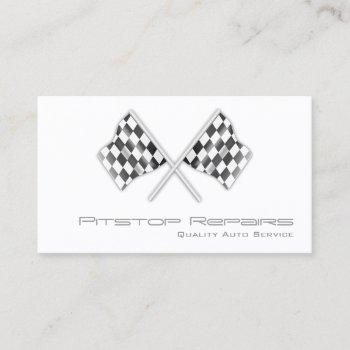 cool white checkered flag business card
