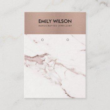 copper blush pink marble texture earring display business card