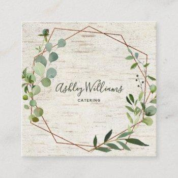 copper geometric greenery wreath typography square business card