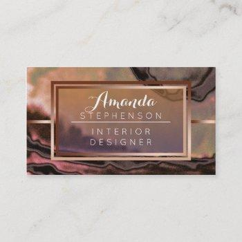 copper modern watercolor interior design business business card