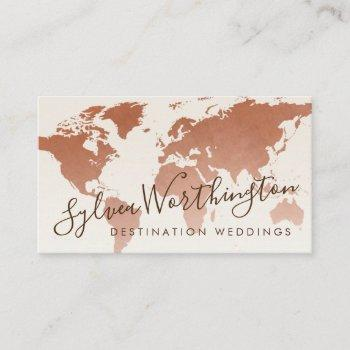 copper tan brown travel world map business card