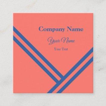 coral blue diagonal stripes modern graphic design square business card
