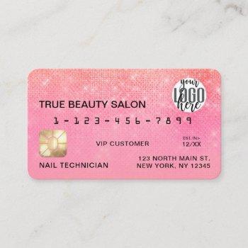 coral bubblegum sequin glitter credit card logo